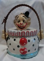 vintage clown jar with lid, two thumbs up! - $9.99