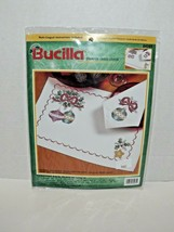 Bucilla Stamped Cross Stitch 84285 Christmas Baubles Napkin Placemat Set New (w) - $24.74