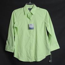 NEW CHAPS Ralph Lauren Women's Small Green White Check Button Down Shirt Top - $9.99