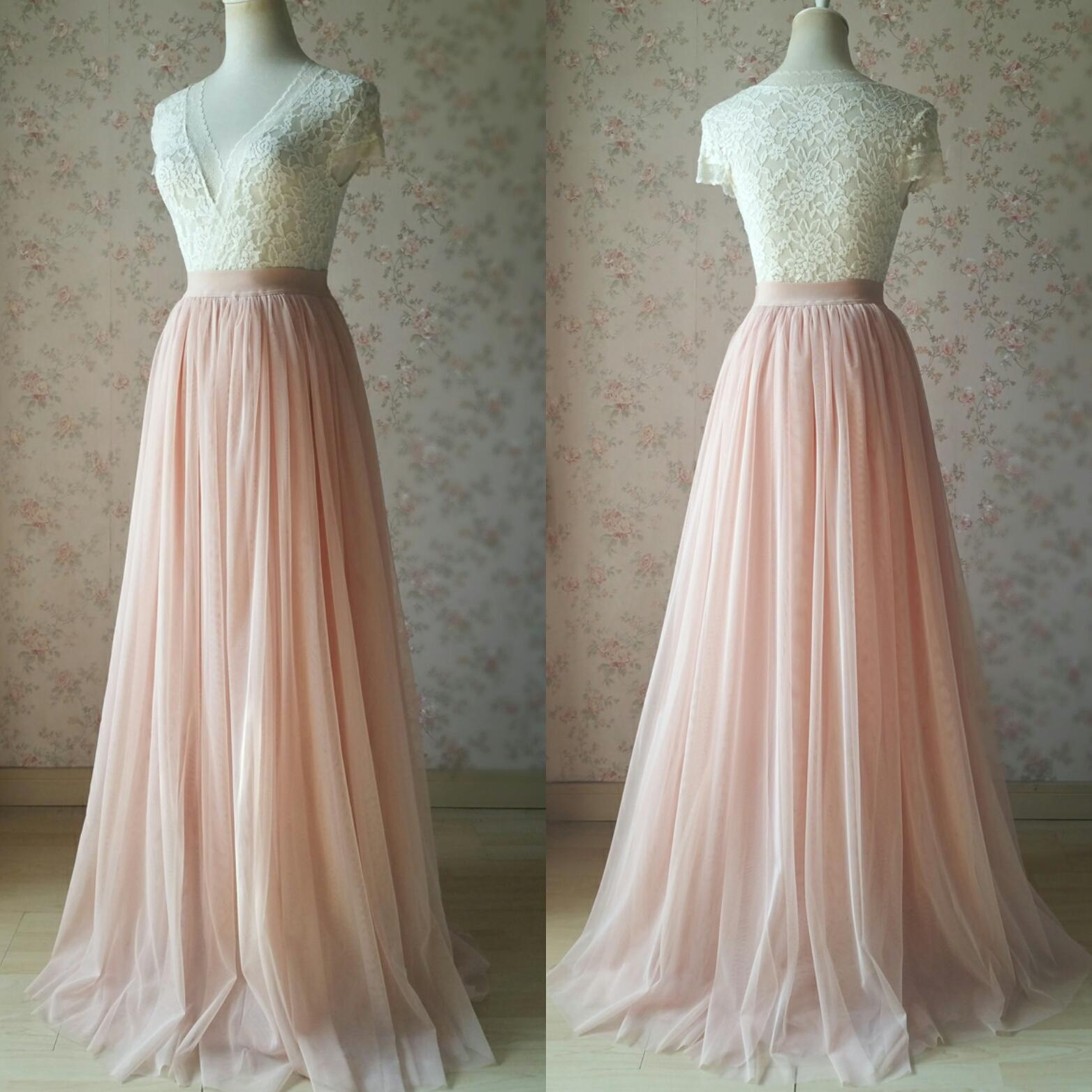 COFFEE High Waisted Plus Size Maxi Skirt Floor Length Bridesmaid Tulle Skirt NWT image 11