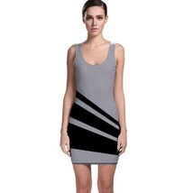 Sexy Stripes Gray Tight Fitted Bodycon Dresses - Size & Sleeve Options - $29.09+
