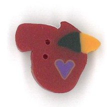 Tiny Franks Cardinal 1113t handmade clay button JABC Just Another Button... - $1.80
