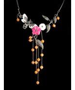 Vintage jade flower sterling necklace / signed chandelier / vintage butt... - $275.00