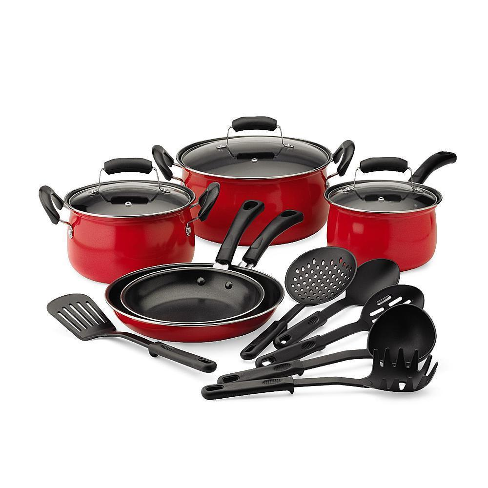 Essential home 14 piece red cookware set kitchen nonstick for Kitchen set red