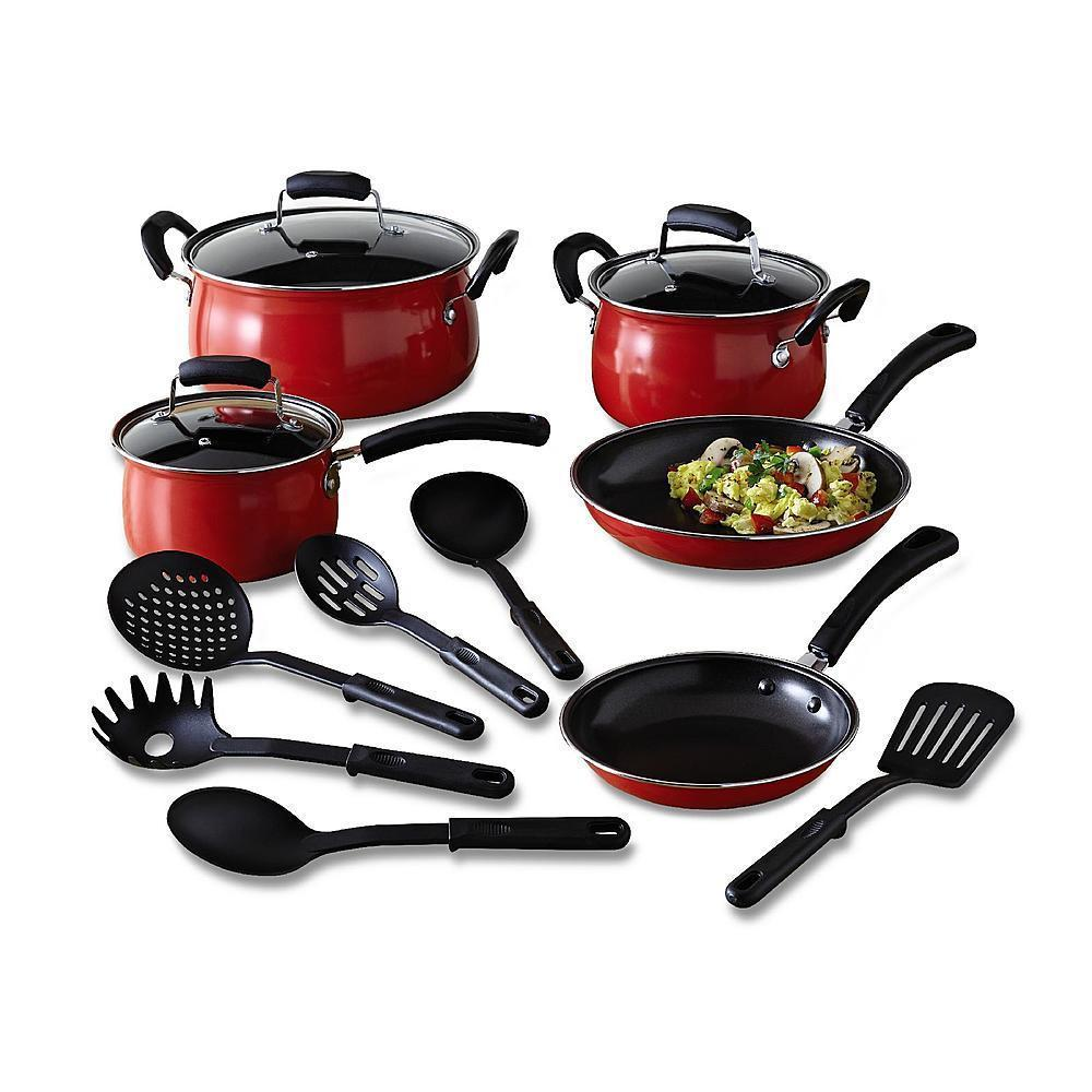 Kitchen Pots And Pans ~ Essential home piece red cookware set kitchen nonstick