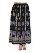 Women Indian Boho Hippie Festival Party Elephant Print Long Sequence Skirt - $24.41 CAD
