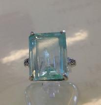 Estate Cerified 13.7 ct Sky blue Aquamarine & Diamond 14k gold engagemen... - $3,999.99
