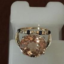New Estate Huge 10.5 ct Morganite, 0.25 Ct diamond Sapphire 14k gold & S... - $3,299.99