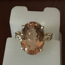 New Estate Huge 14 ct VS Morganite, 0.3-.5 Ct diamond 14k gold engagement ring 6 - $4,499.99