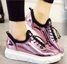 PA001 Sweet shinning surface sneaker/spot shoes, size 35-39, pink - $68.00