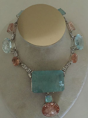 Huge 530 ct TGW aquamarine, Morganite opal, diamond Platinum 14k gold necklace