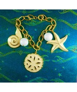 Vintage STARFISH charm bracelet sand dollar Oceanic Nautical  Jewelry se... - $45.00