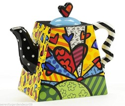 Romero Britto Ceramic Teapot - A New Day Design 50 oz size #334229