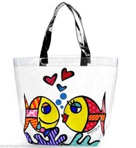 Romero Britto - Deeply In Love Tote Bag -Transparent PVC with Black Handle NEW