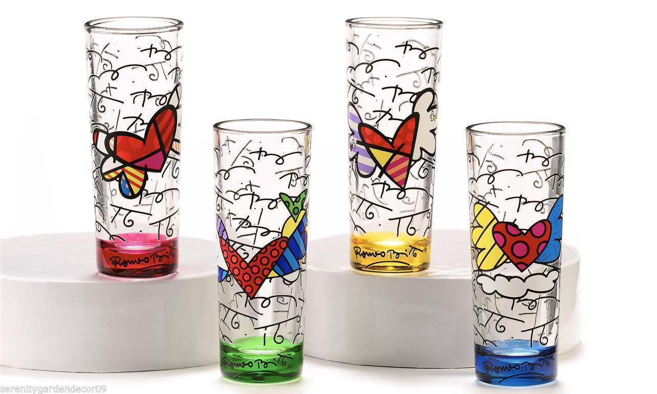 Romero Britto Set of 4 - 3 oz- Shot Glasses - Green, Yellow, Pink & Blue
