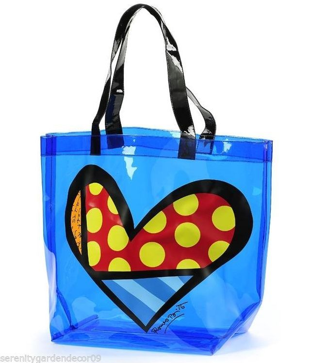Romero Britto - Hearts Tote Bag -Transparent Blue PVC w Black Handle