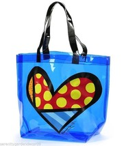 Romero Britto - Hearts Tote Bag -Transparent Blue PVC w Black Handle NEW