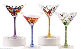 Romero Britto Set of 4 - 5.6 oz  Martini Glasses - Flying Heart, Butterfly NEW