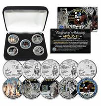 APOLLO 11 50th Anniversary Man on Moon Statehood Quarters 5-Coin Set wit... - $21.46