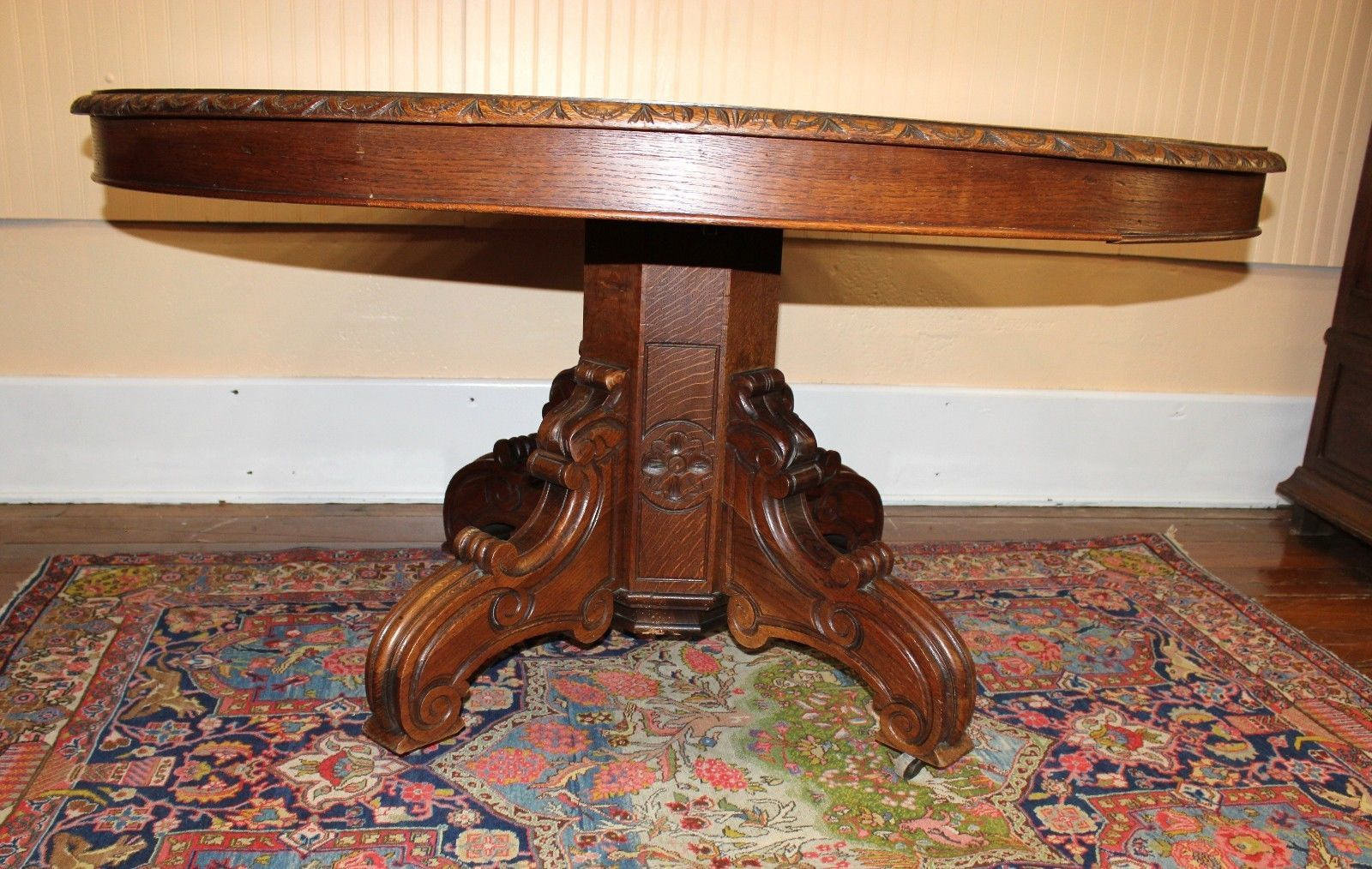 french antique henry ii black forest oak oval dining table 1800