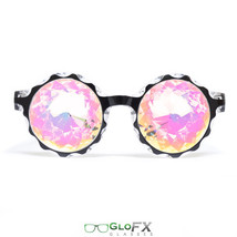 Black Kaleidoscope Glasses Rainbow Prism Lenses Crystal trippy 3d rave glass USA - $39.99