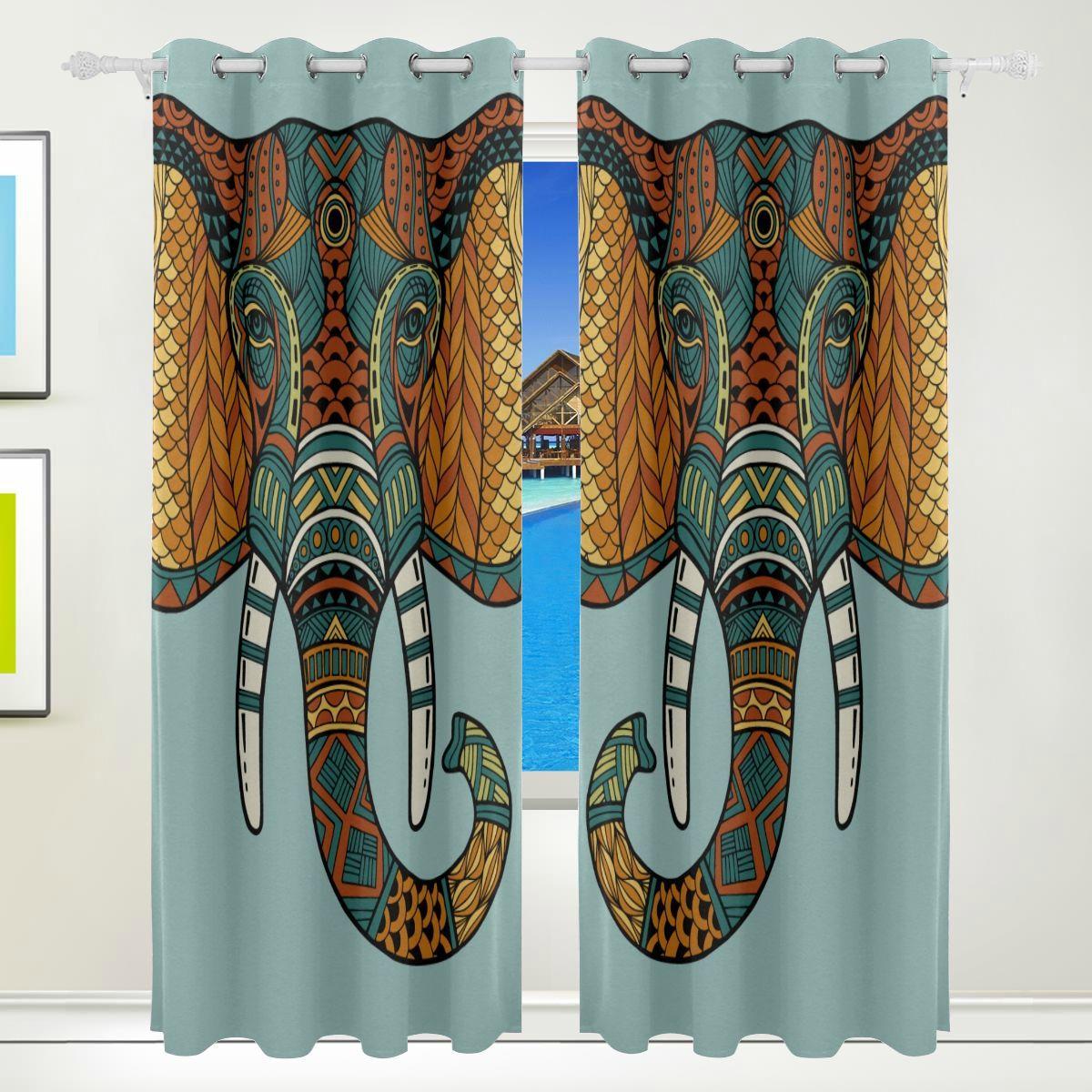 Best Blackout Curtains Tribal Elephant Ethnic Indian