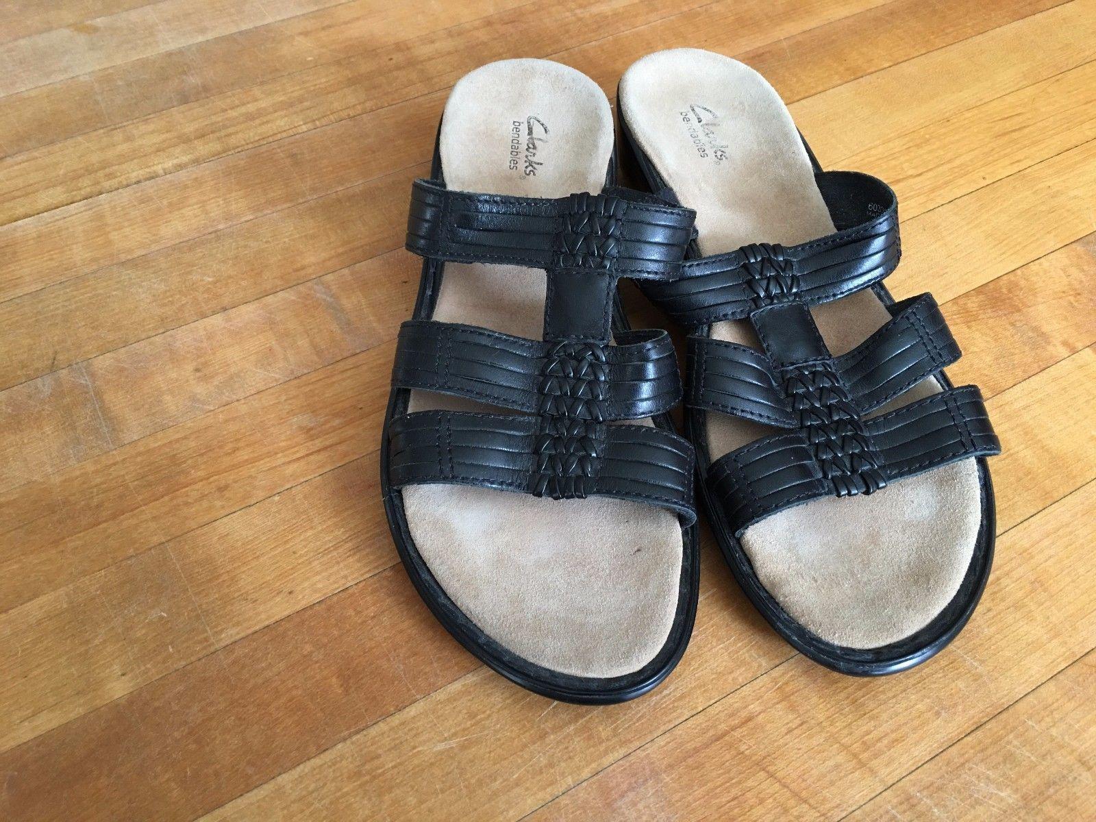 c5d4ae8cd5d CLARKS Bendables Women s Black Leather Slide Slip On Sandals Shoes Size -   37.39