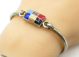 MEXICO 925 Silver - Vintage Multi-Gemstone Grid Inlay Bangle Bracelet - ... - $74.60
