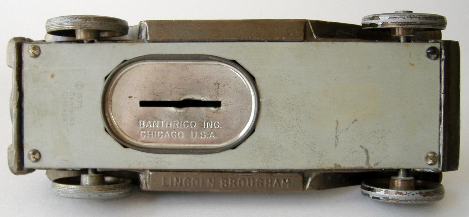 Vintage 1927 Lincoln Brougham Banthrico Car Coin Bank Metal Automobile