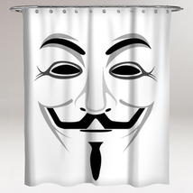 Anonymous V for Vendetta Guy Fawkes Mask Waterproof Bathroom Shower Curtain - $28.90 - $37.90