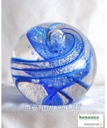 Dichroic Crystal Art Glass Round Paperweight Blue Glass Eye Studio 459L ... - $55.00