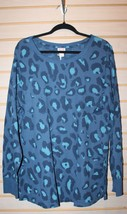 New Womens Plus Size 4 X Blue Leopard Print Long Sleeve Thermal Tee Shirt Top - $19.34