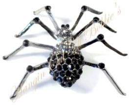 Spider Pin Black Gray Crystal Bold Brooch Silver Tone Metal Autumn Hallo... - $34.99
