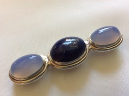 3 stone Lapis Lazuli & blue Agate Sterling Silver 925 Pin Brooch bar - $84.15