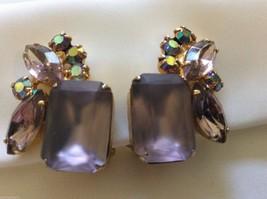 Gold Tone Czech Lavender Aurora Borealis  crystal Rhinestone clip on earrings - $54.45