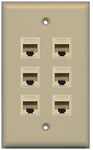 RiteAV (1 Gang Flat) 6 Cat6 Ivory Wall Plate Ivory - $26.71