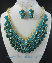 Aqua Blue Beads Gold Tone Chunky Statement Necklace Set - $25.99