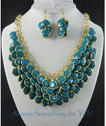 Aqua Blue Beads Gold Tone Chunky Statement Necklace Set - $25.99