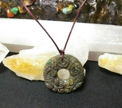Necklace, Double Dragon Hand Carved Natural Jasper For Women  Men image 1