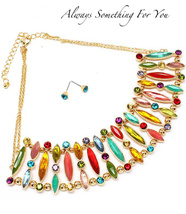 Crystal Bib Multi Color Stone Necklace & Earring Set - $32.99