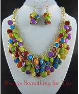 Multi Color  Bead Gold Tone Chunky Statement Necklace Set  - $25.99