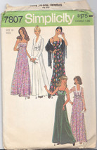 Vintage 70's Maxi Dress Cropped Jacket Pattern Simplicity 7807 Size 10 - $11.87