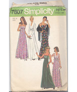 Vintage 70's Maxi Dress Cropped Jacket Pattern Simplicity 7807 Size 10 - $11.87