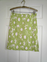 Talbots Skirt 6 Stretch Cotton White Green Floral Lined - $12.86