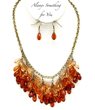 Burnish Gold Tone Necklace With Earring Set - $18.99
