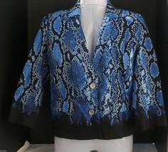 NWT $200 Michael Kors Basic Azure Size 4 Cotton Jacket Blazer Snake Print - $23.80