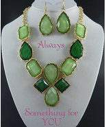 Chunk Statement Bib Gold Tone  Necklace & Earring Set In Two Tone Green - $26.99
