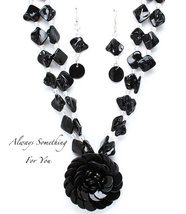 Chunky Layered Black Shells Statement Necklace & Earring Set - $19.99