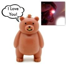 LED BEAR KEYCHAIN w Light and Sound Animal Toy Says I Love You Key Ring ... - $6.95