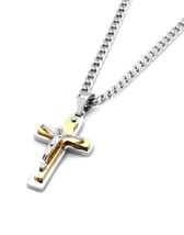 "Silver 2 Tone Stainless Steel Mini Jesus Cross Pendant 24"" Cuban Necklac... - $15.83"